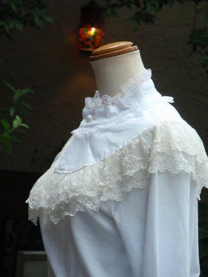 フリルブラウス ケープ風のカットソー 白 Larp衣装