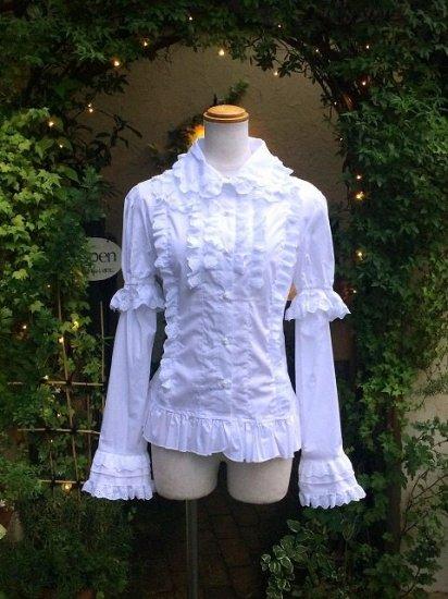 フリルブラウス 綿レースハートのセパレート姫袖 白 刺繍可能