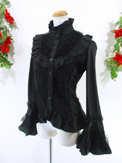 フリルブラウス姫袖ロココ調装飾レース使い 黒