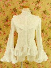 フリルブラウス:姫袖ロココ調装飾レース使い 白