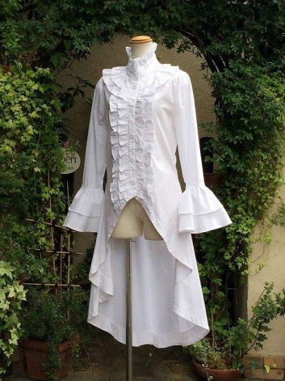 フリルブラウス立ち襟ロング丈姫袖と編上げ 白