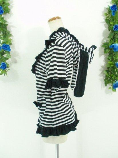 フリルパーカー:フリルうさみみパーカー半袖ハートポケット付き 黒
