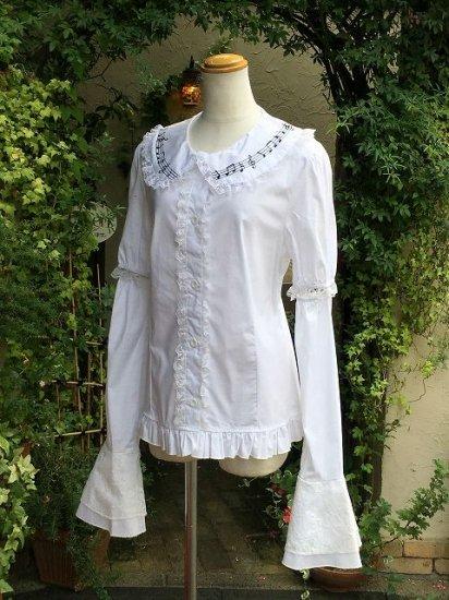 フリルブラウス丸襟姫袖音符フリル白 刺繍可