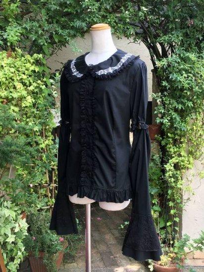 フリルブラウス丸襟姫袖音符フリル黒 刺繍可