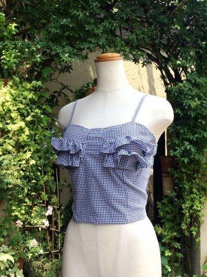 フリルキャミソールギンガムチェックショート丈青 刺繍可