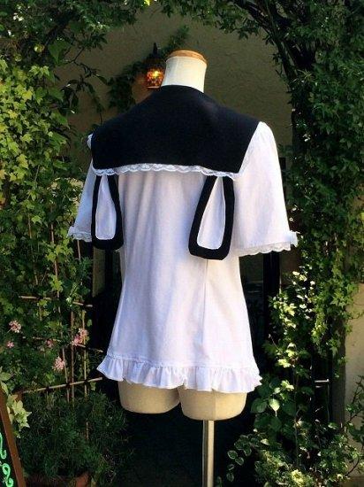 フリルブラウスゆめかわ系うさみみセーラー襟黒 刺繍可