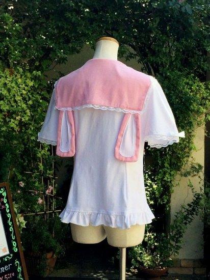 フリルブラウスゆめかわ系うさみみセーラー襟ピンク 刺繍可