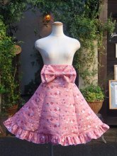 フリルスカート:お花リングとハートの和柄ポップなコルセットスカート 帯風リボン付き&くるぽわインナーパニエセット