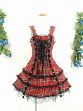 フリルワンピース: 大きめサイズのハトメ飾りのシャーリングフリルワンピース 赤