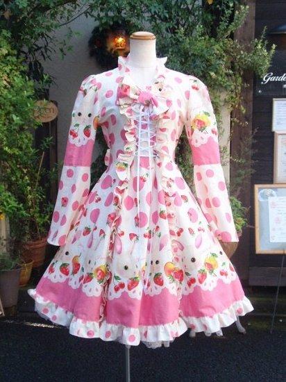 フリルワンピース トランプとうさぎの編上げ姫袖リボン ピンク