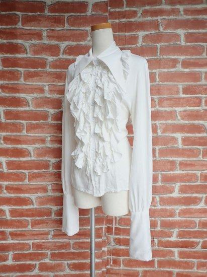 フリルシャツ:三角襟とスタンドフリルの背面編み上げフリルシャツ 白