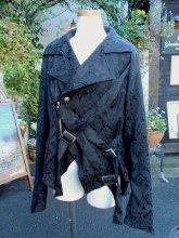 メンズゴシック 飾りベルトとファスナーの黒ジャガードジャケット