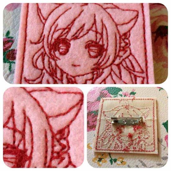 刺繍キャラクター図案のキャラ縫いバッジ 即売会用1シート24枚分