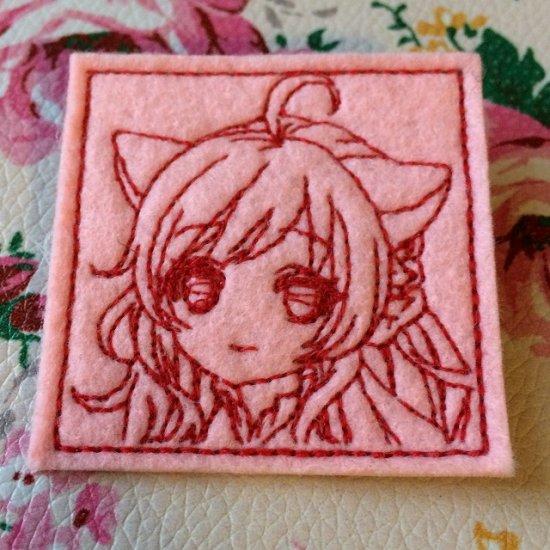 刺繍キャラクター図案のキャラ縫いワッペン 即売会用1シート24枚分