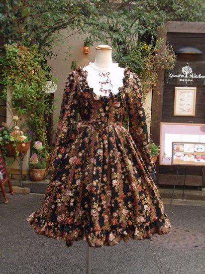 フリルワンピース:エリーナ姫のジャガード織り鈴リボンワンピース ダーククラシカル