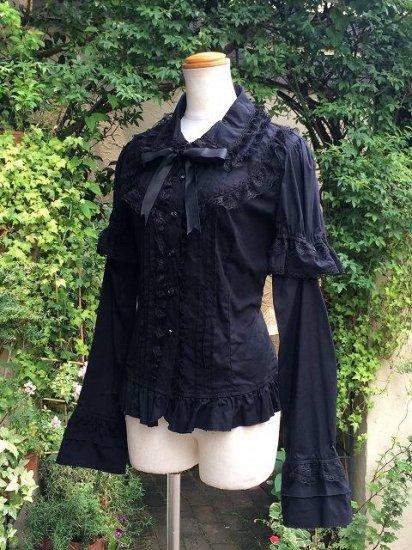 フリルブラウス大きめサイズ丸襟薔薇ボタンベル袖 黒 刺繍可