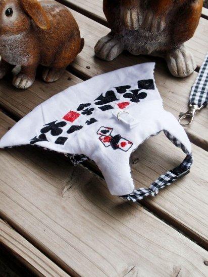 うさぎハーネス 刺繍リフルシャッフルトランプハーネス 白(リード付き) Sサイズ メンズ