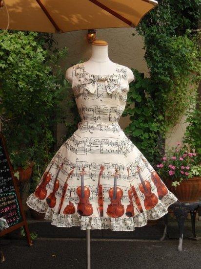 フリルワンピース:バイオリンとリボンのクラシカルフリルワンピース 丸襟タイプ