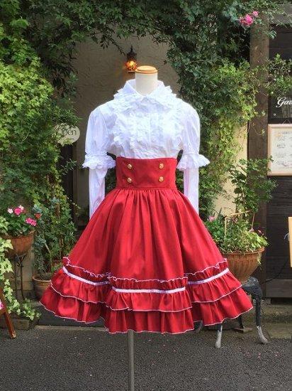 飾りボタンと編み上げのクラシカルハイウエストスカート ダークレッド