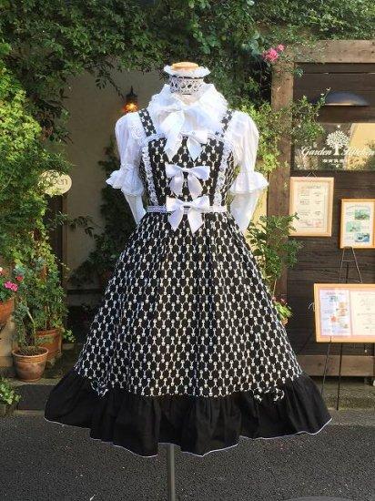 フリルワンピース ホワイトリボンとラビットチェックのフリルワンピース フリルヘットドレス付き