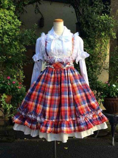 カントリー少女のハイウエストジャンパースカート