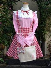 刺繍うさぎトート ロココ調カットソーピンク サスペンダースカート赤 のコラボセット