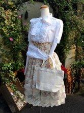 刺繍トートコーデセット:トーションレースブラウス&フラワーレーススカート&うさぎトート