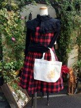 刺繍トートコーデセット:ケープ風ブラウス&ハートホールワンピ 赤&うさぎトート