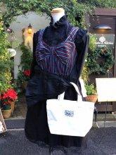 刺繍トートコーデセット:ケープ風ブラウス&ストライプワンピ&うさぎトート