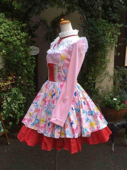 フリルワンピース 夢見る少女のコスモチックジャンパースカート