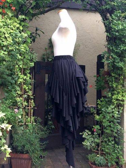 フリルスカート 超ロングドレープフリルスカート 黒 刺繍アレンジ可