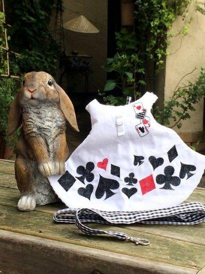 うさぎハーネス 刺繍リフルシャッフルトランプハーネス 白(リード付き) Lサイズ メンズ
