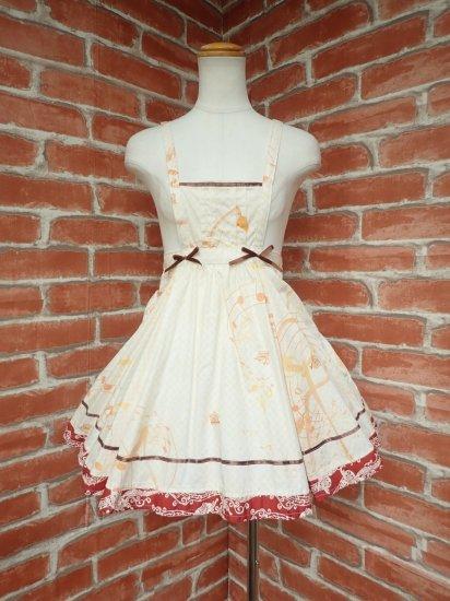 フリルワンピース 音符とリボンのシックな少女のジャンパースカート