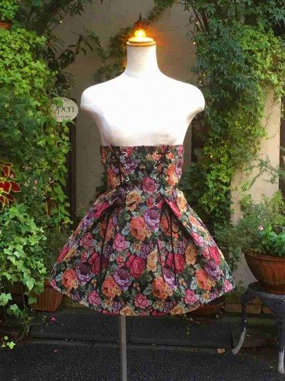 フリルスカート ゴブランスピンドルハイウエストスカート 薔薇柄