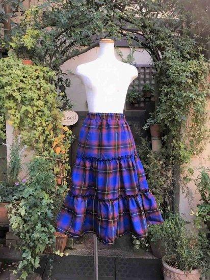 フリルスカート 英国風フレイアスカート 青 刺繍可
