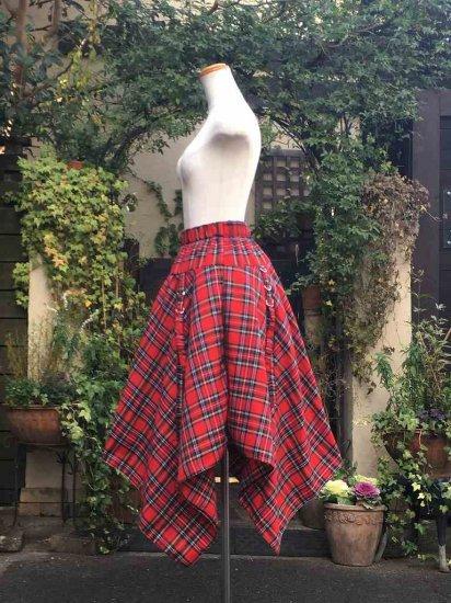フリルスカート 裾長け調整機能付きロングスカート 赤チェック