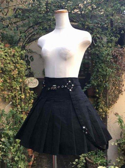 フリルスカート デザインパンクスカート大きめサイズ 黒