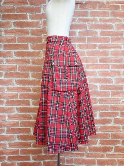 フリルスカート ポケット付き巻きスカート 赤チェック