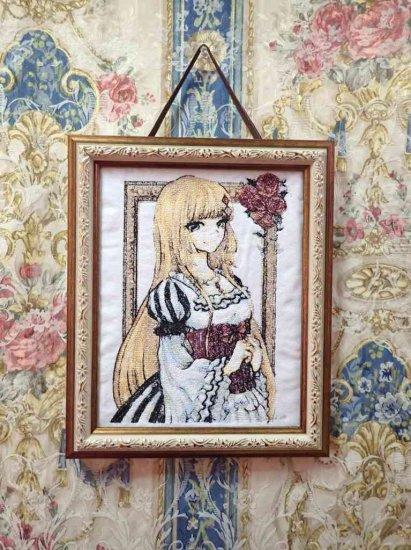 キャラ縫い 額装刺繍 王女シャッフル 刺繍美術品