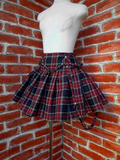 フリルスカート デザインパンクスカート大きめサイズ 黒チェック