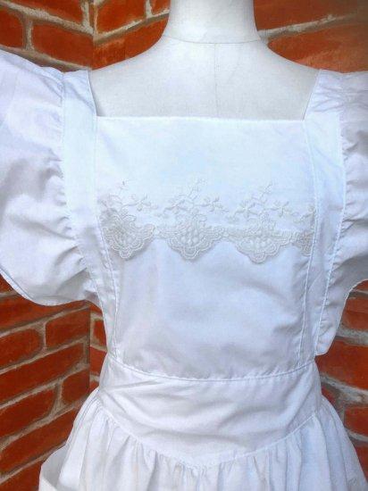 フリルエプロン ロング丈 白 グレナデンレース 刺繍可