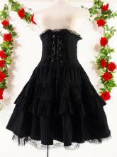 フリルコルセットロングスカートフロントフリル&スピンドル 黒白フリーサイズ
