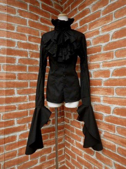 フリルブラウス王子姫袖ジャボタイ付き背面スピンドル黒 廉価版