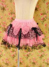 フリルスカートハート模様チュールリボン&レース使いbbaroma ピンク&黒フリーサイズ