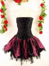 蜘蛛レースフリルベアトップスカート両面スピンドル&チェーン使いpunkorgstyle 黒ピンクMSサイズ