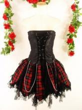 蜘蛛レースフリルベアトップスカート両面スピンドル&チェーン使いpunkorgstyle 黒赤MSサイズ