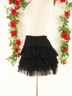 チュールprincessフリルスカート4段ティアード 黒フリーサイズ