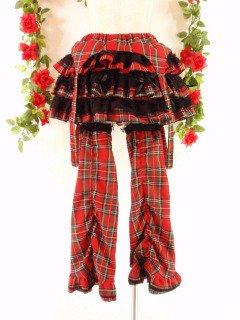 フリルスカートサスペンダー付きとスピンドルレッグウォーマーセットdrughoney 赤フリーサイズ