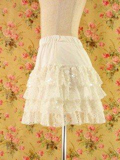 フリルスカートスパンコール4段ティアードフリルgirlstees 白フリーサイズ