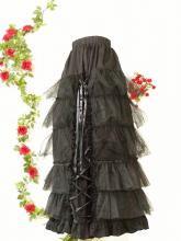 フリルロングスカートスピンドルチュールレースゴシック風drughoney 黒フリーサイズ